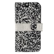 "Insten Book-Style Leather Rhinestone Cover Case w/Card Holder For Apple iPhone 7 Plus (5.5"") - Black/White"