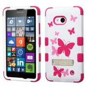 Insten Tuff Butterfly Dancing Hard Case For Microsoft Lumia 640(Metro PCS)/640(T-mobile) - Hot Pink