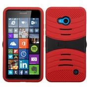 Insten Wave Symbiosis Rubber Hybrid Hard Case with Stand For Microsoft Lumia 640(ATT)/640(Circket) - Red/Black