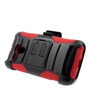 Insten Hard Hybrid Plastic Silicone Stand Case with Holster For Alcatel One Touch Pop Star (4G) - Black/Red