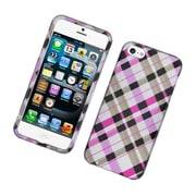 Insten Checker Hard Case For Apple iPhone 5S 5 - Pink/Black