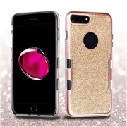 Insten Metallic Full Glitter TUFF Panoview Hybrid Hard/TPU Case Cover For Apple iPhone 7 Plus - Rose Gold/Clear Gold