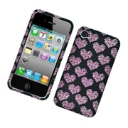 Insten Hearts Hard Case For Apple iPhone 4 4S - Black/Pink