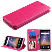Insten Book-Style Leather Fabric Cover Case w/stand/card slot/Photo Display For ZTE Axon Pro - Hot Pink