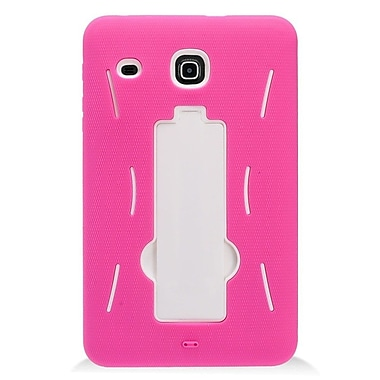 Insten Symbiosis Hybrid Hard Silicone Amor Shockproof Stand Case For Samsung Galaxy Tab E 8 - Hot Pink/White