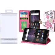 Insten Lily Flip Leather Fabric Case w/stand/card holder/Photo Display/Diamond For ZTE Tempo - Purple/Pink
