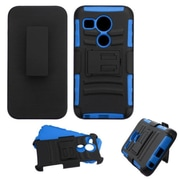 Insten Car Armor Hard Hybrid Shockproof Plastic Silicone Case w/Holster For LG Google Nexus 5 - Black/Blue