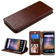 Insten Flip Leather Fabric Cover Case w/stand/card holder/Photo Display For ZTE Axon Pro - Brown