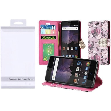 Insten Roses Folio Leather Fabric Case w/stand/card holder/Photo Display/Diamond For ZTE Tempo - Purple/White