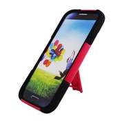 Insten Hard Hybrid Plastic Silicone Case with stand for Samsung Galaxy S4 - Red/Black