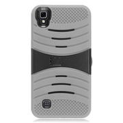 Insten Wave Symbiosis Rubber Hard Case with stand for LG X Power - Gray/Black