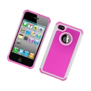 Insten Hard Hybrid Dual Layer Rubberized Silicone Case for Apple iPhone 4 / 4S - Hot Pink/White