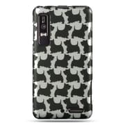Insten Hard Crystal Rubber Skin Back Protective Shell Cover Case For Motorola Droid 3 - Silver Black Schnauzer