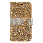 Insten Flip Leather Rhinestone Cover Case w/Card Holder For Apple iPhone 7 4.7 inch - Gold/White