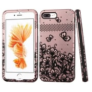 Insten VERGE Hybrid Hard PC/Silicone Dual Layer Shockproof Case For Apple iPhone 7 Plus - Black Flowers/Rose Gold/Black