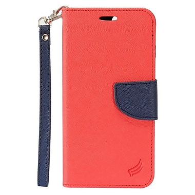 Insten Flip Leather Fabric Cover Stand Card Case Lanyard w/Photo Display For Apple iPhone 7 4.7 inch - Red/Black