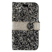 Insten Folio Leather Rhinestone Cover Case w/Card Holder For Apple iPhone 7 4.7 inch - Black/White