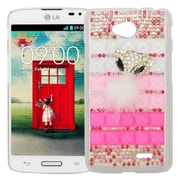 Insten Checker Hard Diamond Case For LG Optimus L70 / Optimus Exceed 2 VS450PP/Realm - White/Pink