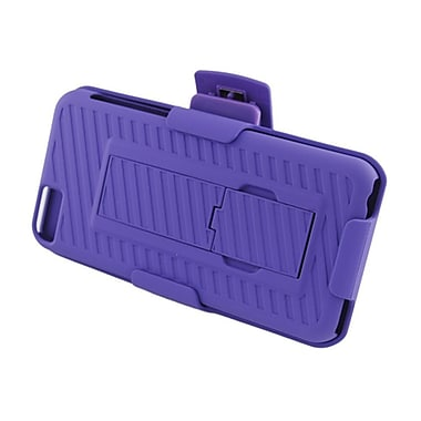 Insten Hard Rubber Stand Case Holster Clip for Apple iPhone 5C - Purple