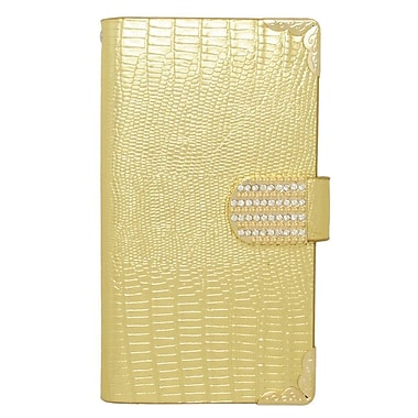 Insten Folio Leather Wallet Case with Card slot For Samsung Galaxy S6 Edge Plus - Gold