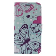Insten Butterfly Leather Wallet Case with Photo Display & Card Slot For Samsung Galaxy S6 Edge - Colorful