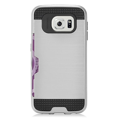 Insten Hard Hybrid Silicone Cover Case with card slot holder For Samsung Galaxy S7 - Silver/Black