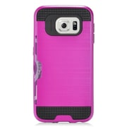 Insten Hard Dual Layer Hybrid Case with card slot holder For Samsung Galaxy S7 - Hot Pink/Black