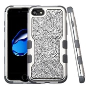 Insten Silver Plating Frame Mini Crystals Back TUFF Vivid Hybrid Case For Apple iPhone 7 - Silver/Iron Gray