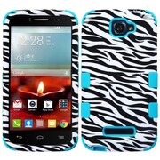 Insten Zebra Hard Dual Layer Silicone Cover Case For Alcatel One Touch Fierce 2 7040T - Black/White