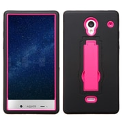 Insten Hard Dual Layer Rubberized Silicone Cover Case w/stand For Sharp Aquos Crystal - Black/Hot Pink