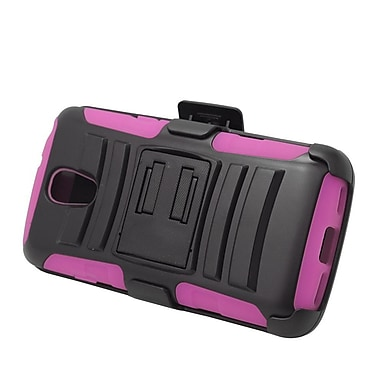 Insten Hard Hybrid Plastic Silicone Stand Case with Holster For LG Volt - Black/Hot Pink