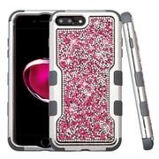 Insten Silver Plating Frame Mini Crystals Back TUFF Vivid Hybrid Case For Apple iPhone 7 Plus - Hot Pink