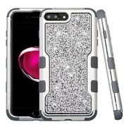 Insten Silver Plating Frame Mini Crystals Back TUFF Vivid Hybrid Case For Apple iPhone 7 Plus - Silver