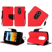 Insten Flip Leather Fabric Case Lanyard w/stand For ZTE N817 - Red/Black