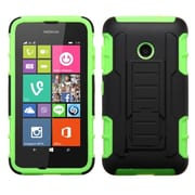 Insten Hard Dual Layer Rubberized Silicone Cover Case w/stand For Nokia Lumia 530 - Black/Green