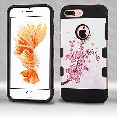 Insten Brushed TUFF Trooper Hybrid Hard PC/TPU Case For Apple iPhone 7 Plus - Rose Gold Flowers/Black