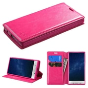 Insten Flip Leather Fabric Case w/stand/card slot For Sharp Aquos Crystal - Hot Pink