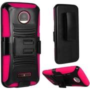 Insten Hard Hybrid Plastic Silicone Cover Case w/Holster For Motorola Moto Z Droid - Black/Hot Pink