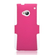 Insten TPU Rubber Hard PC Candy Skin Mesh Case Cover For HTC One M7 - Hot Pink/White