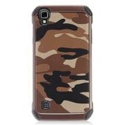Insten Dual Layer Hybrid Rubberized Hard Silicone Shockproof Case For LG Tribute HD / X STYLE - Brown Camouflage/Black