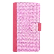 Insten Book-Style Wallet Leather Diamante Case with Card slot For LG G4 - Hot Pink