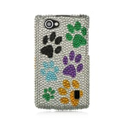 Insten For Lg Optimus M+ / Ms695 Full Diamond Casesilver Multi Dog Paws