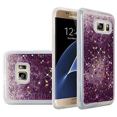 Insten Liquid Quicksand Glitter Fused Flexible Hybrid TPU Cover Case For Samsung Galaxy S7 Edge - Dark Purple
