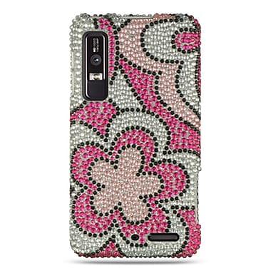 Insten For Motorola Droid 3 Full Diamond Case Hot Pink Flower