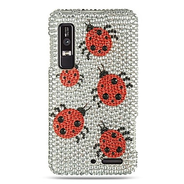 Insten For Motorola Droid 3 Full Diamond Case Silver Ladybug
