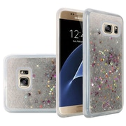 Insten Liquid Quicksand Glitter Fused Flexible Hybrid TPU Cover Case For Samsung Galaxy S7 Edge - Silver