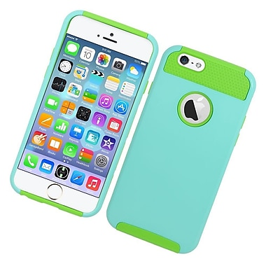 Insten Hard Dual Layer Rubber Coated Silicone Case for iPhone 6 / 6s - Light Blue/Green