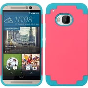 Insten Hard Hybrid Rubber Coated Silicone Case For HTC One M9 - Hot Pink/Blue