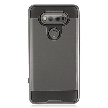 Insten Hybrid Dual Layer Brushed Metal Hard TPU Shockproof Case Cover For LG V20 - Gray/Black