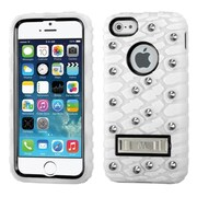 Insten Tuff eNuff Tread Silicone Hybrid 3D Rubber Hard Case w/stand/Wallet For Apple iPhone SE / 5 / 5S - White/Black